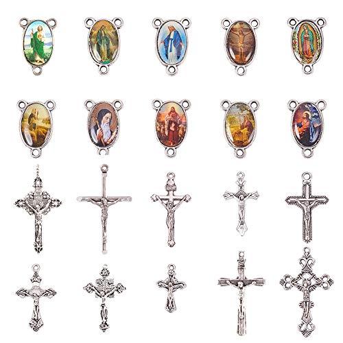 PandaHall Elite 10 Sets (20 Stück) Rosenkranz Kreuz und Center Wunderbare Medaille mit Kruzifix Kreuz Anhänger und Oval Bild Links für Rosenkranz Halskette, Bleifrei