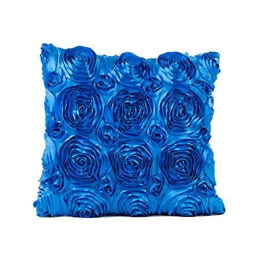 myfei 42* 42cm rose Blume bestickt Kissen, Home Dekoration Kissenbezüge Sofa Auto Überwurf Kissenbezug blau (Quadratische Rosa Bettwäsche Tischdecke)