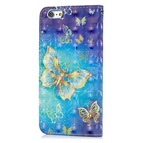 Mavis's Diary Étui iPhone 6 Plus/iPhone 6S Plus Coque en Cuir Papillon 3D Dessin Housse Portefeuille Fente de Carte Étui à Rabat Fermeture Magnétique Phone Flip Case Cover+Chiffon motif 5
