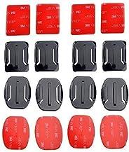 Mondpalast 8pcs casco Supporti Curvi & piatti Basi + adesivo per Gopro Hero 2 3 3+ 4 Go Pro