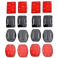 Mondpalast® 8pcs casco Supporti Curvi & piatti Basi + adesivo per Gopro Hero 2 3 3+ 4