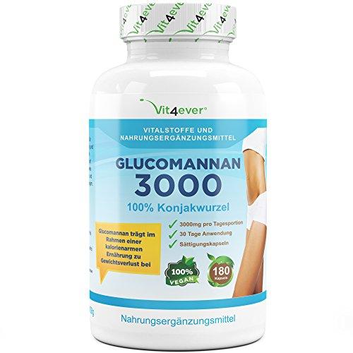 Glucomannan - 180 Kapseln - 3000mg - 30 Tage Anwendung - Sättigungskapseln - 100% Konjac Wurzel -...