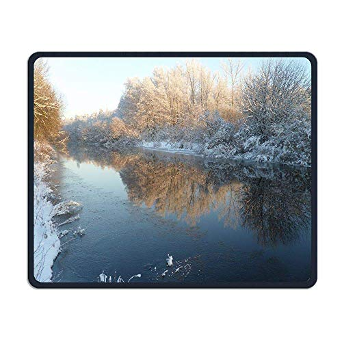 Drempad Gaming Mauspads Custom, Snow Mouse Pad,Beautiful Winter Snow Theme Standard Size Rectangle Non-Slip Rubber MousepadMulticolor Hexagon