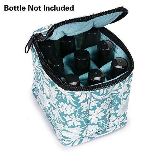 btsky 9Flaschen ätherischen Ölen mit Fall Tasche, weiche stoßfest ätherisches Öl Tote Organizer Reisetasche für 5ml, 10ml, 15ml Flaschen und 10ml Flaschen, aqua grün