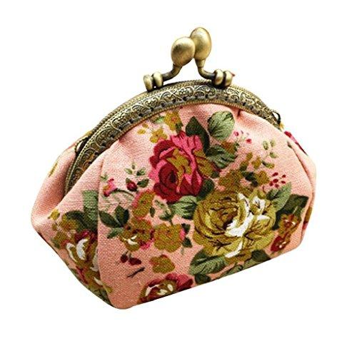 Vovotrade® Femmes Dame Rétro Vintage Fleur Petit portefeuille Fermoir sac à Main Embrayage (Rose)