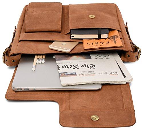 LEABAGS Birmingham sac bandoulière rétro-vintage en véritable cuir de buffle - Noix de muscade Marron
