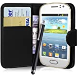 fi9� SAMSUNG GALAXY FAME GT-S6810 S6810P BOOK WALLET FLIP PU LEATHER CASE COVER POUCH + SCREEN PROTECTOR + STYLUS PEN (BLACK)