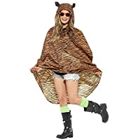 Ladies Mens Festival Essential Animal Print Waterproof Poncho Coat Fancy Dress Accessory (Tiger)