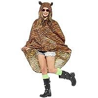 SMS Ladies Mens Festival Essential Animal Print Waterproof Poncho Coat Fancy Dress Accessory (Tiger) Orange
