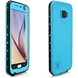 Alienwork Funda para Samsung Galaxy S6 impermeable protectora bumper case Las cuatro pruebas Prueba de Polvo Anti-nieve Plástico azul claro SGS618-03
