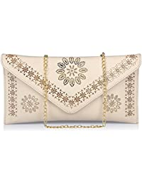 Dice PU/Non Leather Party Clutch Bag Medium Off-White Flourish _ F