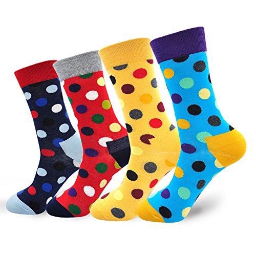 Lustige Socken aus Baumwolle mit Punkte Herrensocken Mehrfarbig Bunt Businesssocken, 4 paare (Baumwolle Herren Kleid Socken)