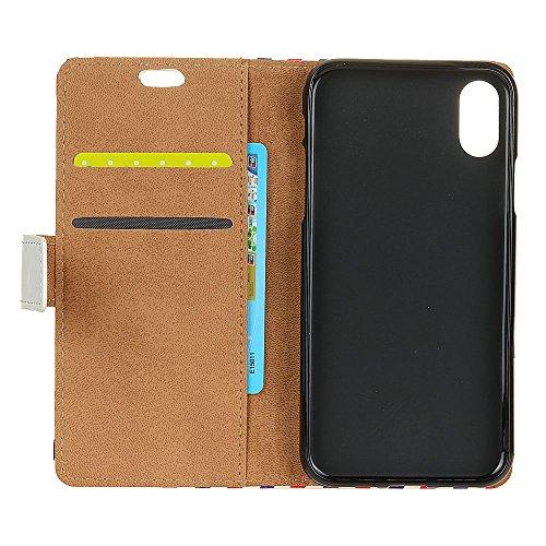 Cover Per iPhone X, Sunrive Custodia con supporto di stand e in pelle artificiale per carte di credito Portafoglio Flip Chiusura Magnetica Protettiva(W 1 busta) W gufo 1