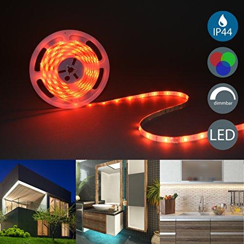 B.K.Licht – Beleuchtung LED Stripes 5m – Lichterkette - Lichtleiste Band - Lichtschlauch mit Farbwechsel Inkl. Fernbedienung – RGB LED Streifen Leiste selbstklebend spritzwassergeschützt IP