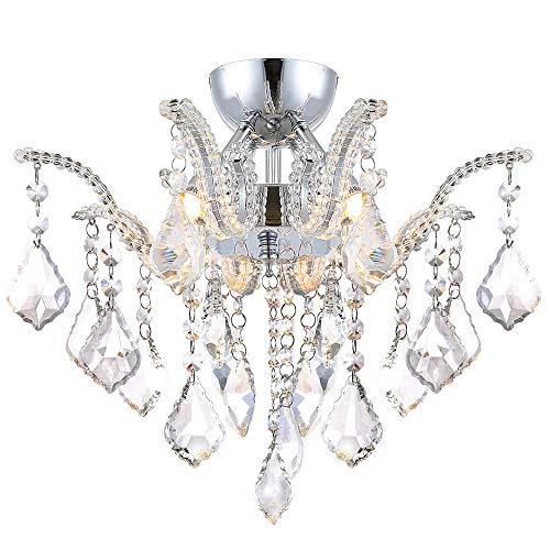 Glas Kristall Kronleuchter Deckenleuchte mit K9 Glaskristallen Wohnzimmer Deckenlampe Ø40cm 4x G9 LED Leuchtmittel