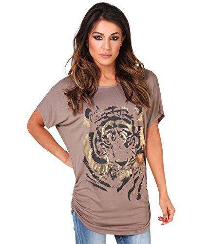 2093-MOC-16: Oversize Shirt mit Tigermotiv (Mokka, Gr.44) (Print Tiger T-shirt)