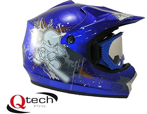 Qtech Casco protector con gafas para niños - Para motocross y todoterreno - Azul - M (55-56 cm)