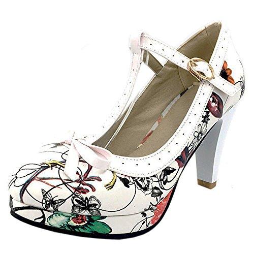 TAOFFEN Damen Elegant Hoch Absatz Party Pumps T-Spange Solid Schuhe Rose Red Flower