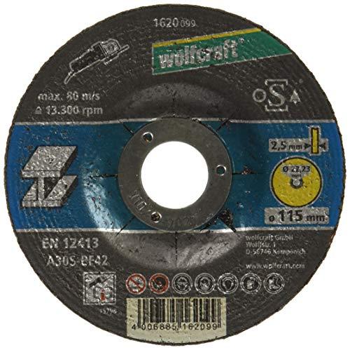 Wolfcraft 1620099 - Disco de corte para amoladora para metal, cubo deportado, granel Ø 115 x 2,5 x 22,23 mm