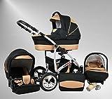 True Love Larmax Kinderwagen Safety-Sommer-Set (Sonnenschirm, Autositz & ISOFIX Basis, Regenschutz, Moskitonetz, Schwenkräder) 43 Cosmic Black & Sahne