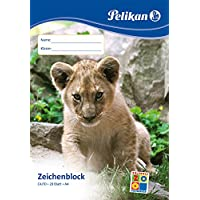 Pelikan 224824 sketch pad, A4, 20 sheets, cover with animal motifs (not selectable)