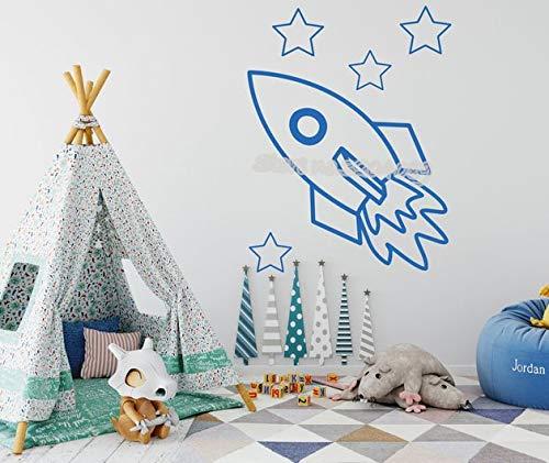 44 * 56cm Cartoon Rocket Space Wall Sticker Outer Space Stars Dekor Decal Kids Room Kinderzimmer Heimdekoration Removalable Art Mural Tapete (Dekor Space Outer)