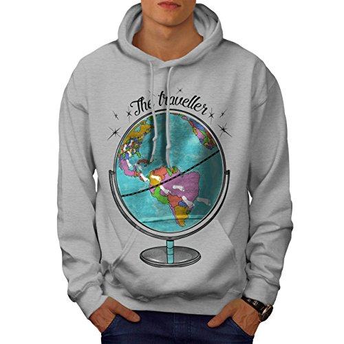 Globus Reisende Welt Karte Männer XXL Kapuzenpullover   Wellcoda