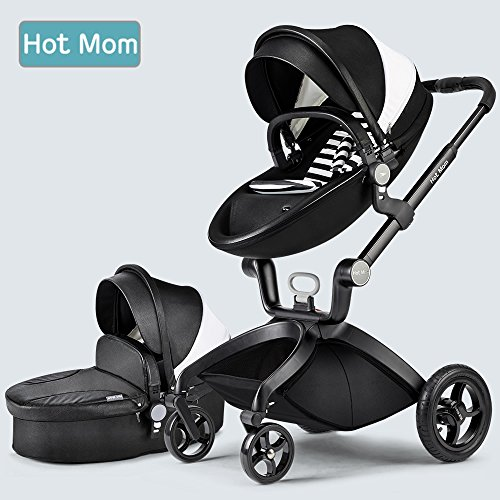 Hot-Mom-Limited-Edition-Kombikinderwagen-und-Buggy-Sportwagen-3-in-1-Travelsystem-2016-mit-Babywanne-Schwarz
