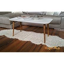 Hogar24 -Mesa centro diseño estilo vintage lacado en blanco y patas madera maciza , medidas 100 cm x 50 cm x 47 cm
