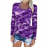 Longra Langarmshirt Damen Mode Bluse Casual T Shirt Hemd Damen Camouflage Langarm Sweatshirt Pullover Lose Tops Oberteil (S, Purple)
