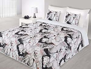 170x210 stahl weiß rot gedruckte Tagesdecke Steppbettüberwurf Marilyn Monroe Pop Art Marilyn3