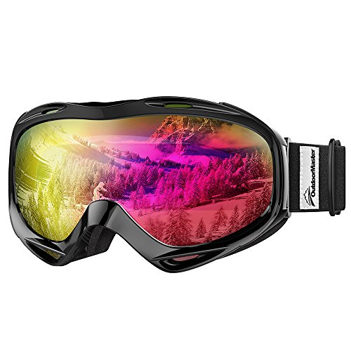 OutdoorMaster Premium Skibrille, Snowboardbrille Schneebrille OTG 100% UV-Schutz, Helmkompatible Ski Goggles für Damen&Herren/Jungen&Mädchen(Schwarzer Rahmen+VLT 13% graue Linse mit vollem REVO Pink)