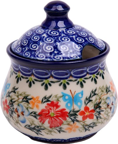 Polish Pottery Ceramika Boleslawiec, 0051/238, Sugar Bowl Iza, 1 Cup, Royal Blue Patterns with Red Cornflower and Blue Butterflies Motif - Cornflower Blue Cup
