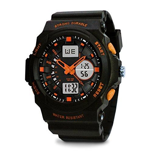 TOPCABIN Jungen Uhren Mädchen Uhren Kinder Mode Einfach LED Analog Sportuhr Digital Armbanduhr Wasserdichte Casual Uhr Silikonband Kalender Wecker für Herren Uhren Orange