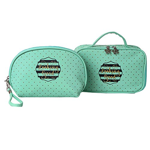 UberLyfe Cosmetic Cases cum Pouch - Set of 2 - Mint Green (1531-COMBO)