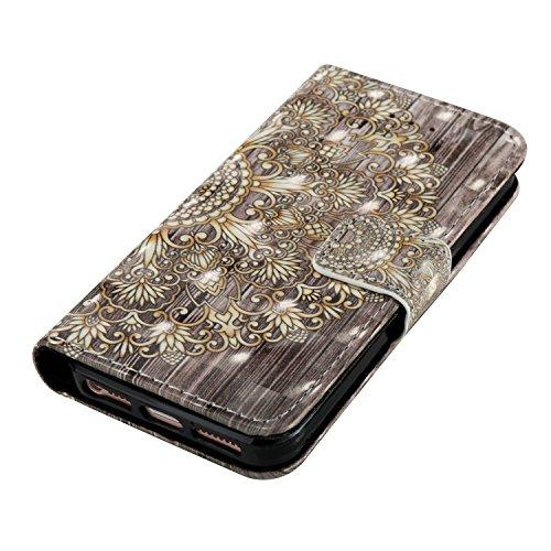 Portefeuille iPhone 5S Coque Blanc, Aeeque® Glitter Animaux Motif [Vache Laitière] Fermeture Aimant et Carte de Crédit Style Lirves Étui Housse en Cuir Case à Rabat pour iPhone 5 5S SE Mandala Gold Rétro