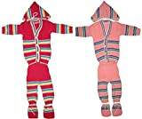 Infant New Born Baby Woolen Sweater Suits 4Pc Set of 2 (Top+Pyjama+Cap+Mittens) 0 TO 6 MONTH