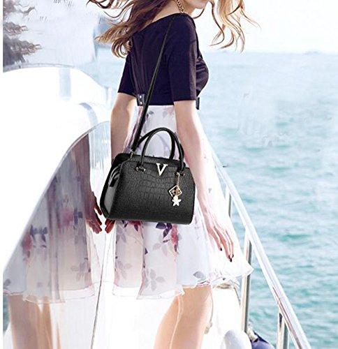 Wealsex Sac A Main Bandouliere PU Cuir Porté Epaule Sacoche Shopping OL Fourre-tout Mode Classique Taille 32 *15* 22 CM Femme noir