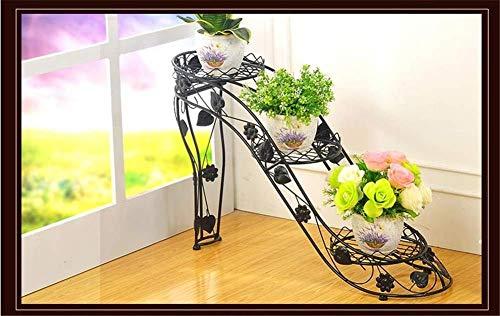 lili 3 Tier Eisen Blumenständer Indoor High Heel Schmiedeeisen Blumentopf Stehen Outdoor Wohnzimmer Balkon Blume Pflanze Stehen,B -