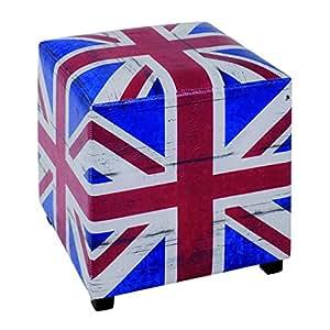 Tabouret en bois massif et Polyuréthane motif drapeau Angleterre, Dim : L40 x P40 x H45 cm -PEGANE-