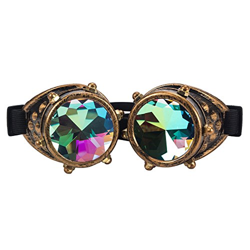 FLORATA Kaleidoscope Rave Rainbow Vintage Steampunk Goggles Multicolor Lens Welding Glasses Ideal for Cosplay (Brass) steampunk buy now online