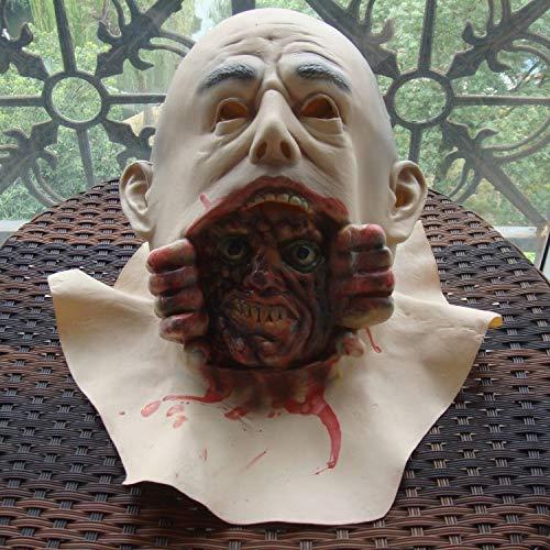 Kostüm Teufel Funny - POIUYT Adult Horror Grimasse Haube Maske Funny Scary Teufel Zombie Horror Ekelhaft Kostüm Requisiten Halloween Ghost Festival/Lustige Party Perücke,A17