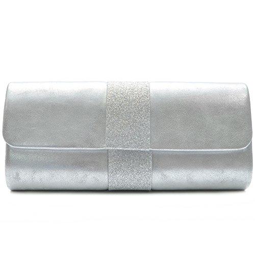 Vain Secrets Damen Umhänge Tasche Abendtasche Clutch in vielen Farben (26,5 cm Lang - 12 cm Hoch - 5 cm Breit, Silber) -