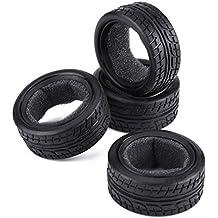 Dilwe 4Pcs RC Rubber Neumáticos, RC Llantas con Esponja Interna para HSP HPI 1/
