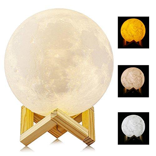 Lámpara de luna en 3D, ALED LIGHT Luna con 15 cm de Diámetro Conexión Usb Con 3 Colores a Elegir e Intensidad Regulable Luz de Ambiente Perfecta para Dormitorio Salón Café Bar