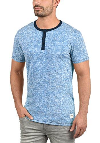 !Solid Telia Herren T-Shirt Kurzarm Shirt Grandad-Ausschnitt Aus Hochwertiger Baumwollmischung Meliert Federal Blue (1414)