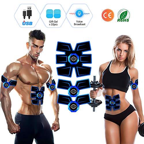 Elettrostimolatore per addominali, elettrostimolatore muscolare ems-stimolatore addominali con trasmissione vocale intelligente, addominali elettrostimolatore per addome/braccio/gambe/waist/glutei