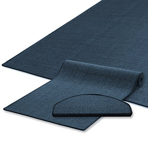Sisal Teppich / Läufer | blau | Naturfaser | Qualitätsprodukt aus Deutschland | kombinierbar mit Sisal-Stufenmatten | 19 Breiten und 18 Längen (100x200 cm)