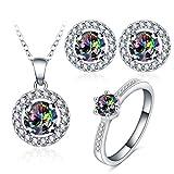 AnazoZ Damen Mode Schmuck Sets Halskette mit Anhänger Ring Ohrringe Set, Hochzeit Braut Schmuck Kristall Zirkonia inkl. Geschenkbox Gr. 59 (18.8)
