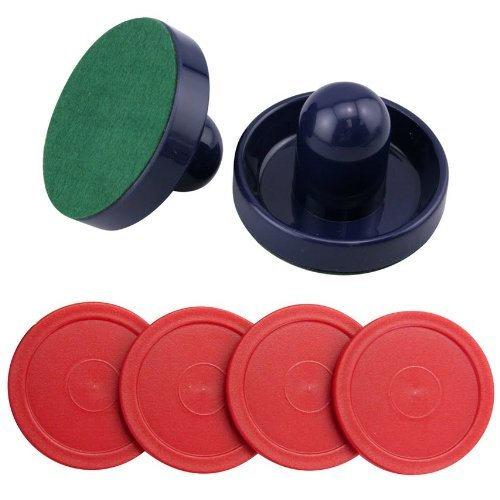Puck Air Hockey Red (Set of Two Blue Air Hockey Pushers and Four Red Air Hockey Pucks)